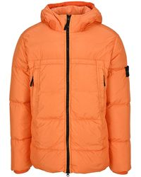 Stone Island Crinkle Reps Hooded Down Jacket - Orange