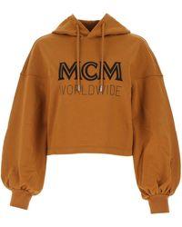MCM Worldwide Logo Print Cropped Hoodie - Brown