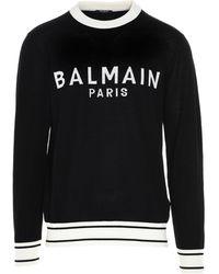 Balmain Logo Knitted Sweater - Black