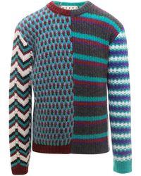Marni Panelled Geometric Knit Jumper - Blue