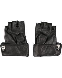 Karl Lagerfeld K/ikonik Leather Gloves - Black