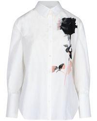 Alexander McQueen Rose Printed Shirt - White