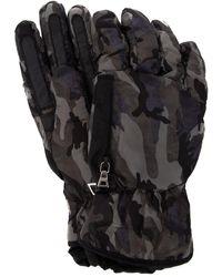 Prada Camouflage Zip-detail Gloves - Black