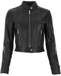 MICHAEL Michael Kors Leather Biker Jacket - Black