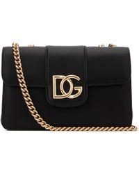 Dolce & Gabbana Logo Plaque Shoulder Bag - Black