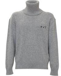 Off-White c/o Virgil Abloh Embroidered Logo Turtleneck Sweater - Gray