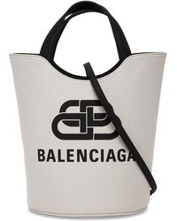 Balenciaga Bb Logo Tote Bag - White
