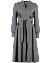 L'Autre Chose Belted Midi Dress - Grey