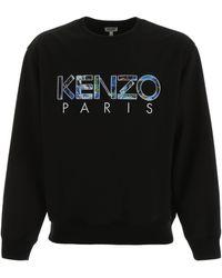 KENZO Logo Print Crewneck Pullover - Black
