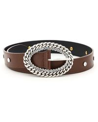 Alessandra Rich Leather Belt Chain And Crystal Buckle - Brown