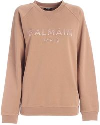 Balmain Logo Embroidered Sweatshirt - Natural