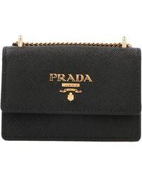 Prada Logo Chain Strap Card Holder - Black