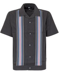 Stussy Striped Knit Panel Short Sleeve Shirt - Black