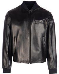 Prada Black Nappa Leather Reversible Bomber Jacket Nd Uomo