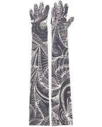 Dries Van Noten Printed Peacock Gloves - Black