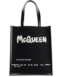 Alexander McQueen Graffiti Logo Tote Bag - Black