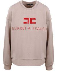 Elisabetta Franchi Logo Printed Crewneck Sweatshirt - Pink