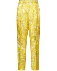 Etro Paisley Print Cropped Pants - Yellow