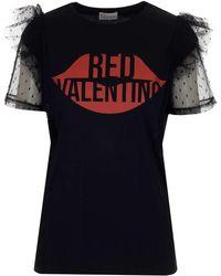 RED Valentino Redvalentino Lip Print Tulle Sleeve T-shirt - Black