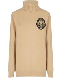 Balmain Turtleneck Logo Patch Knit Sweater - Natural