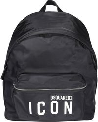DSquared² Icon Logo Print Backpack - Black