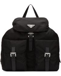 Prada Logo Plaque Nylon Backpack - Black