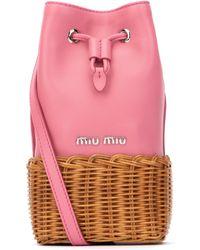 Miu Miu Grace Woven Crossbody Bag - Pink