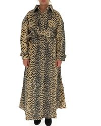 Jacquemus Leopard Print Belted Trench Coat - Multicolor