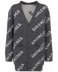 Balenciaga All Over Logo Cardigan - Grey