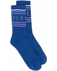 Versace Logo Intarsia Socks - Blue