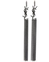 Saint Laurent Monogram Chain Tassel Earrings - Metallic