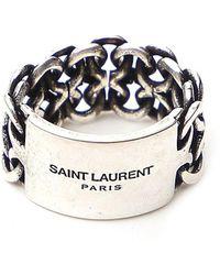 Saint Laurent Logo Chain Ring - Metallic