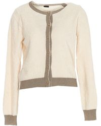 Pinko Contrast Trim Knitted Cardigan - Natural