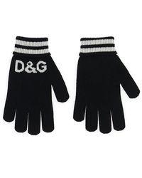 Dolce & Gabbana D&g Striped Gloves - Black