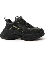 Balenciaga Triple S Suede And Mesh Trainers - Black