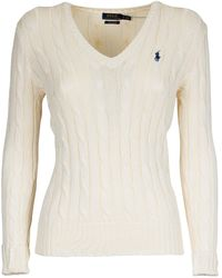 Polo Ralph Lauren Logo Cable-knit Sweater - White