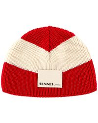 Sunnei Logo Patch Ribbed Beanie - Red