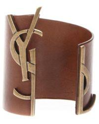 Saint Laurent Logo Leather Bangle - Brown