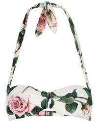 Dolce & Gabbana Floral Print Bikini Top - Multicolour