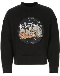 Palm Angels Graphic Embroidered Crewneck Sweatshirt - Black