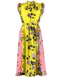MSGM Rose Printed Flared Dress - Yellow