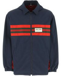 Gucci Logo-embroidered Shell Jacket - Blue