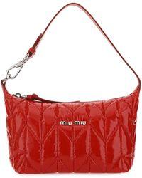 Miu Miu Logo Plaque Padded Tote Bag - Red