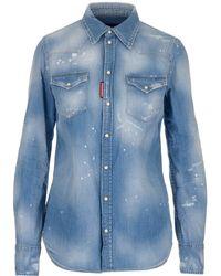 DSquared² Button-up Denim Shirt - Blue