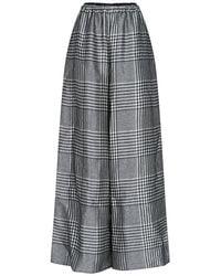 MM6 by Maison Martin Margiela Houdstooth Wide Leg Trousers - Grey