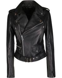 Manokhi Belted Biker Jacket - Black