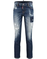 DSquared² Cool Girl Cropped 5-pocket Jeans - Blue