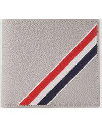Thom Browne Rwb Stripe Bifold Wallet - Gray