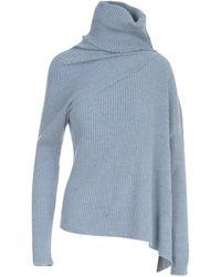 Marques'Almeida Roll Neck Asymmetric Knit Jumper - Blue