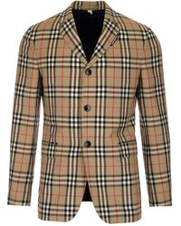 Burberry Vintage Checked Buttoned Blazer - Natural